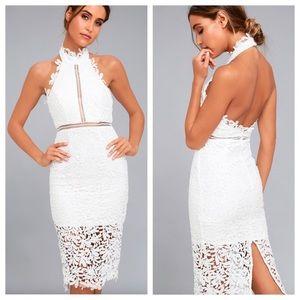 Lulu's Divine Destiny White Lace Midi Dress. NWOT